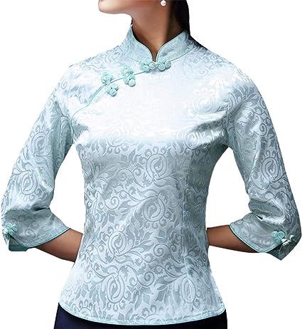 dahuo Camisa China de Manga Larga con Hebilla, para Mujer 3 S: Amazon.es: Ropa y accesorios