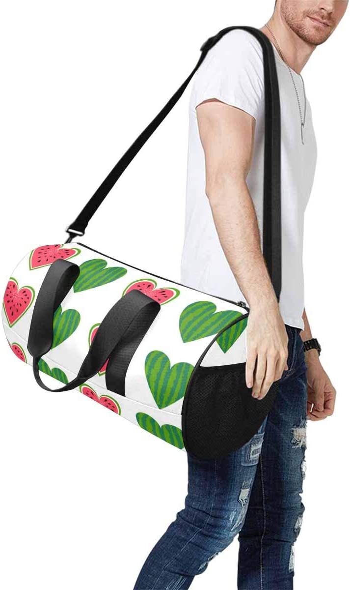 INTERESTPRINT Red and Green Heart of Watermelon Travel Bag Water-Resistant Duffle Bag