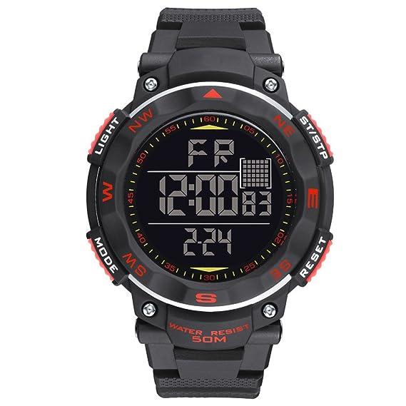 Reloj hombres Reloj Digital Juvenil Luminosa Resistente Al Agua Multifunción Reloj Electrónico (Color : Red): Amazon.es: Relojes