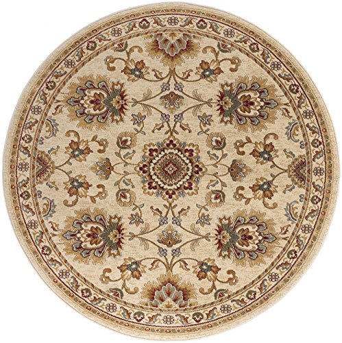 Charlotte Traditional Oriental Ivory Round Area Rug, 8' Round (Rugs Tayse Sensation)