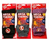 Ladies Heated Mega Thermo Thermal Insulated Socks Fur Lined Thermal Socks 3 Pack (8-11, Black/Light Grey/Pink)