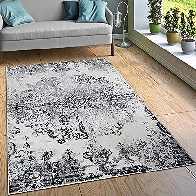 Amazon De Paco Home Designer Teppich Wohnzimmer Teppiche Ornamente Vintage Optik Schwarz Weiss
