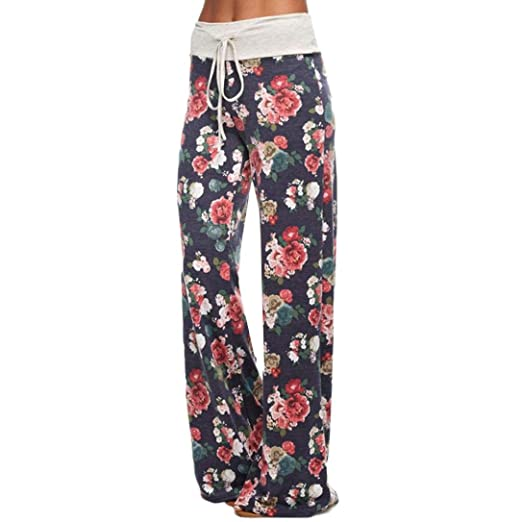 3784ee62f62cbe Jushye Women's Palazzo Trousers, Ladies Floral Print Yoga Trousers Loose  Stretch Trousers Womens Drawstring Wide