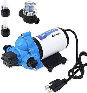 DC HOUSE 33-Series Industrial Water Pressure Pump, 115V 3.3 GPM 45 PSI Water Diaphragm Pump Power Plug for Bathroom Sprinkler Faucet Agricultural Irrigation