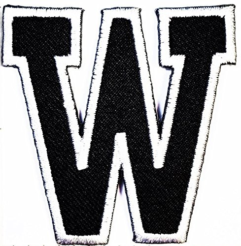 (black W letter patch Symbol Jacket T-shirt Patch Sew Iron on Embroidered Sign Badge Costume. 2 x 2)