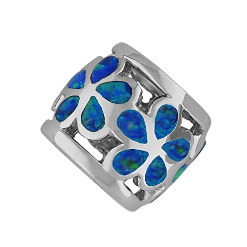 Sterling Silver Synthetic Blue Opal Plumeria Bead Charm Pendant