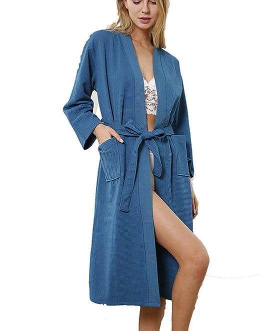 Albornoz Mujer Bolsillos Laterales Camisones con Cinturón Manga Larga Stand Cuello Señora Batas Camisón Vestido Color