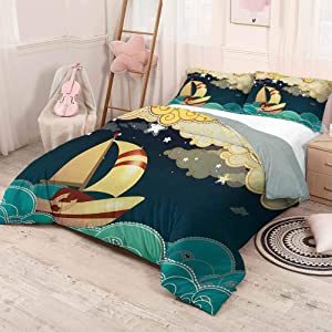 HELLOLEON Ship Pure Bedding Hotel Luxury Bed Linen Kids Fairy Tale Fantasy Illustration Magical Night Time Sailing Ship on Curly Waves Polyester - Soft and Breathable (Twin) Multicolor