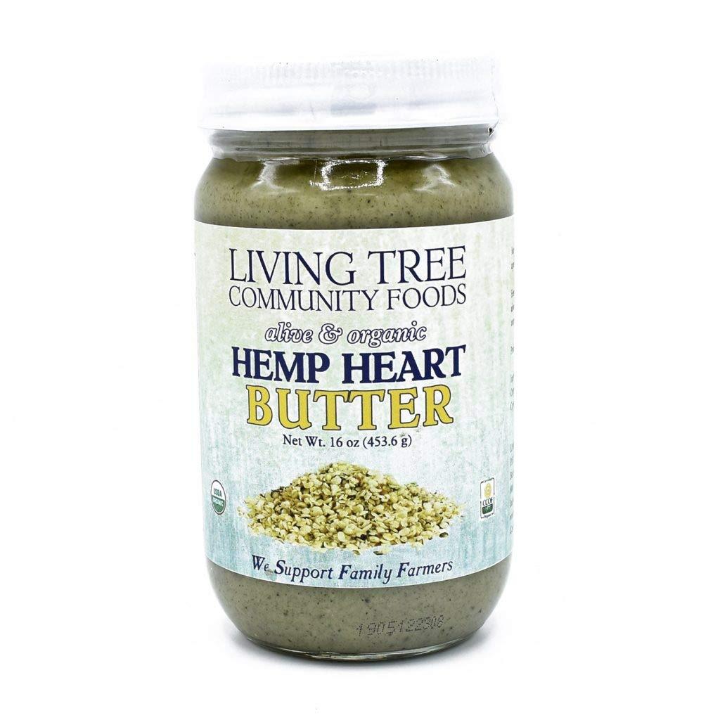 Living Tree Organic Raw Hemp Heart Butter   No Added Sugar, Gluten-Free, Seed Butter - 16 Ounce Jar