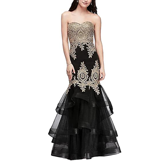 Sweetheart Mermaid Prom Dress Gold Applique Layered Formal Party Gown (Black ,2)