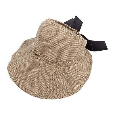 2 Piezas Simplicity Women 's Summer Sun Beach Sombrero de Paja Straw Sun Visor w/Cute Bowtie Plegable Roll up Floppy Beach Hats for Women: Hogar