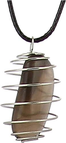 collier homme cordon noir avec pierre
