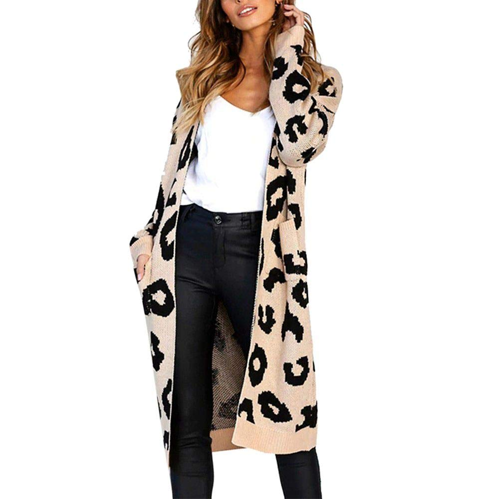 kemilove Women Long Sleeve Open Front Leopard Knit Long Cardigan Casual Print Knitted Maxi Sweater Coat Outwear with Pockets