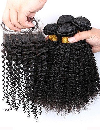 Part Brésiliens À Fermeture Slove Frisés De 7a Faisceaux Capillaires Crépus 3 14 4pcs Avec Coquins Produits Grade 14 Jff Afro Extensions Cheveux Bouclés WqBXUX