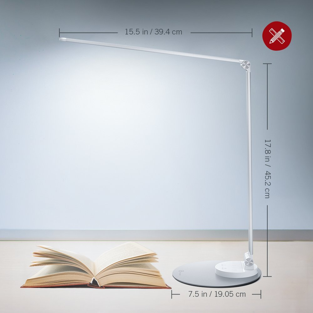 TaoTronics Aluminum Alloy Dimmable Dimmable LED Desk Lamp with USB Charging Port, Table Lamp for Office Lighting, 3 Color Modes & 6 Brightness Levels, Silver, Philips Enabled Licensing Program by TaoTronics (Image #7)