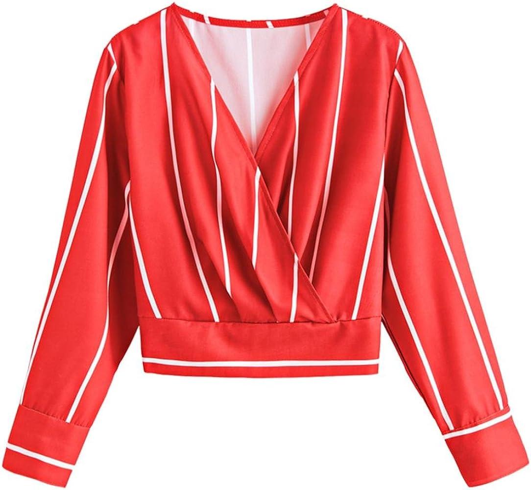 FAMILIZO_Camisas Mujer Manga Larga Camisetas Mujer Verano Tops Mujer Primavera Camisas Mujer Rayas 2018 Otoño Camisetas Mujer Manga Larga Algodon Mujer Fiesta Blusas (M, Rojo): Amazon.es: Ropa y accesorios