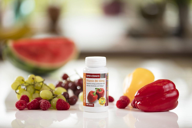 Vitamina B6 50mg - 360 Comprimidos - 1 año de suministro - Piridoxina -Actividad Hormonal - SimplySupplements: Amazon.es: Salud y cuidado personal