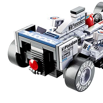 Blue BXT Kids DIY Educational Assemble Toys Bricks Gift 1:24 Scale F1 Formula Racing Car Model 257pcs 3D Construction Building Block sets Compatible With minifigures