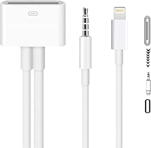MFi Certified Lightning to 30 Pin Adapter 30-Pin Female to 8-Pin Male 3.5mm Audio Connector Converter Charging with iPhone Charger Cable Cord Compatible iPhone 12 11 XS X 8 7 6 5 4,iPad,iPod White