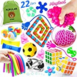 Sensory Fidget Toys Classroom Treasure Box Prizes, Pinata Filler Fidgets Relieve Anxiety, Kids and Adults Stress Relief Toys Bundle 22/pcs with Mesh Stress Ball, Marble and Mesh Fidget & More