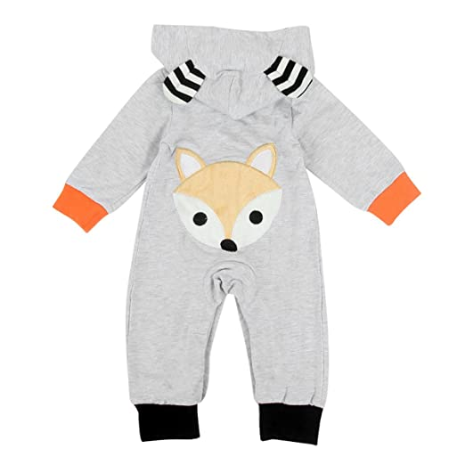 d907d18561f7 puseky Baby Boys Girls Long Sleeve Cute Fox Hooded Romper Jumpsuit Overall  Outfit (3-