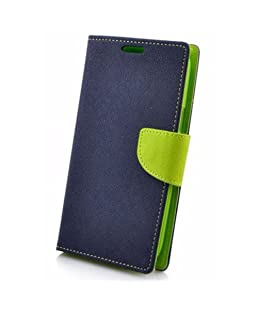 Avzax Luxury Magnetic Lock Diary Wallet Style Flip Cover Case for Micromax Canvas Juice 4G Q461 - Blue