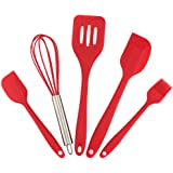 Color You Premium Silicone 5 Piece Baking Set Heat Resistance Nonstick Kitchen Cooking Utensil in Hygienic Solid Coating, Includes Whisk, 2 Spatulas, Basting Brush and Slotted Turner