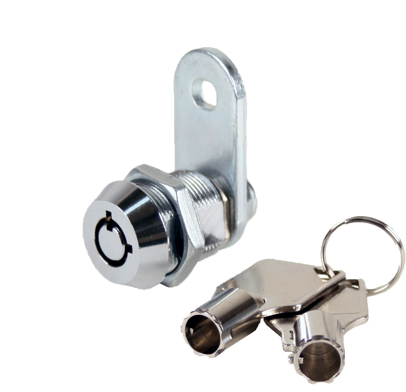 FJM Security 2400AS-KD Tubular Cam Lock with 5/8'' Cylinder and Chrome Finish, Keyed Different