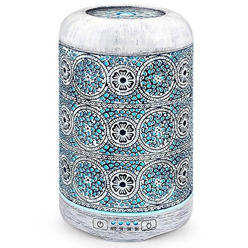 Retro Essential Oil Diffuser, SALKING 260ml Metallic Craft Aromatherapy Diffusers for Essential Oils, 7 Color LED Lights Oil Diffuser Cool Mist Humidifier for Home Baby Office Yoga-White