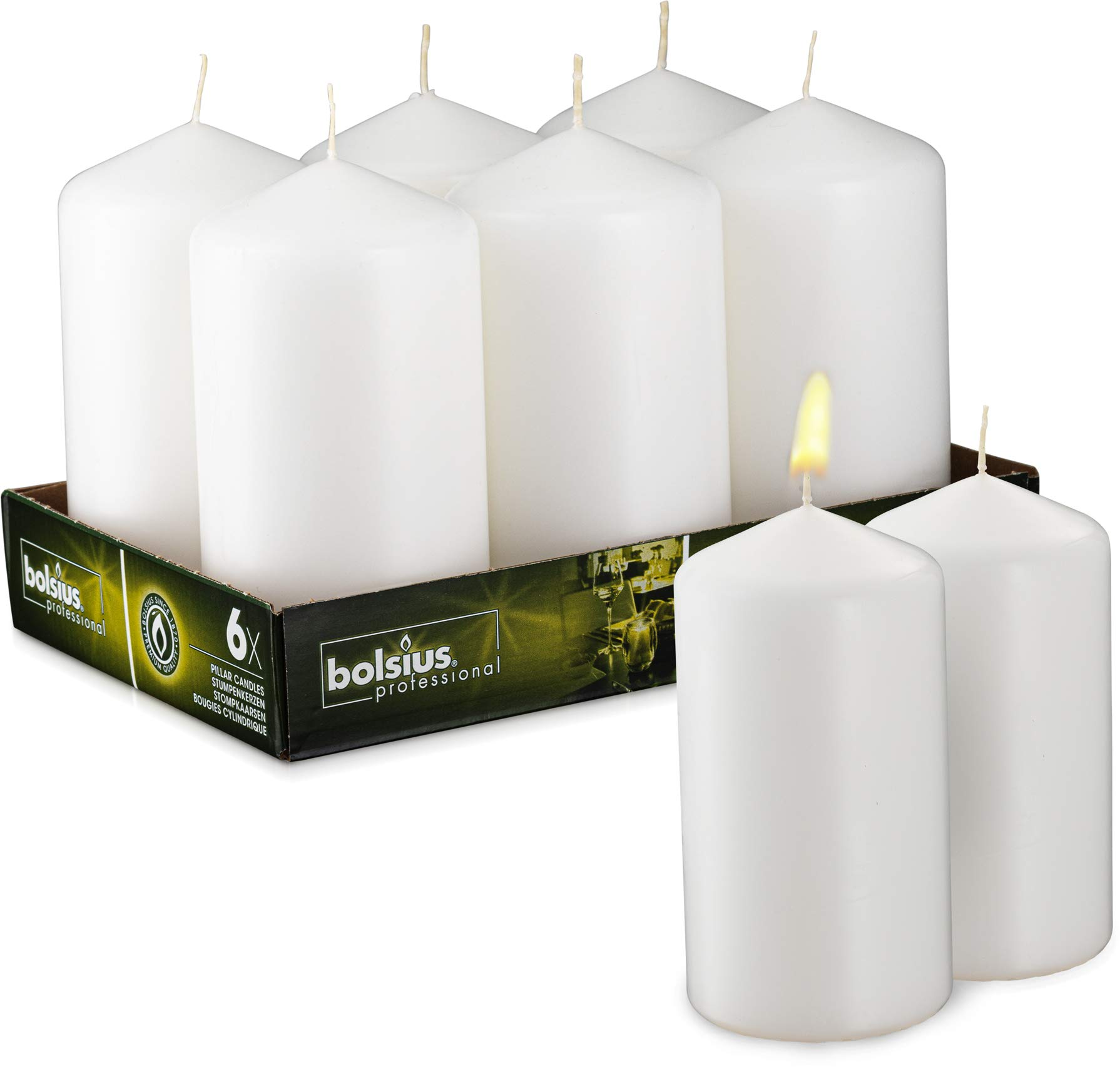 BOLSIUS Set of 6 White Unscented Pillar Candles - Large White Pillar Candle Set for Weddings, Parties and Special Occasion Décor - Non-drip White Candles with 65 Hours Burning Time - 3-inch x 6-inch by BOLSIUS