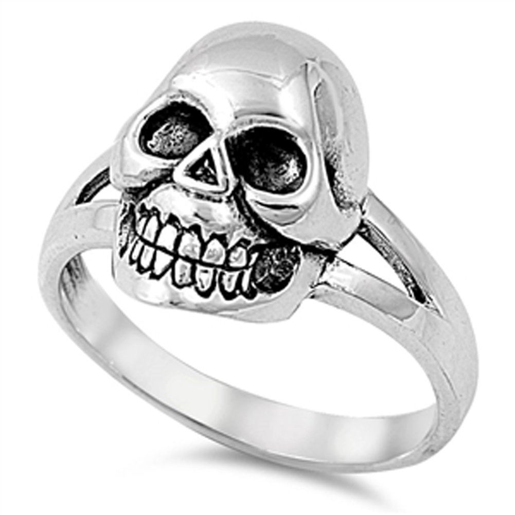 Oxidized Skull Large Biker Dead Ring New .925 Sterling Silver Band Size 7