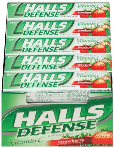 Halls Defense Vitamin C Strawberry, 20-Count Packages