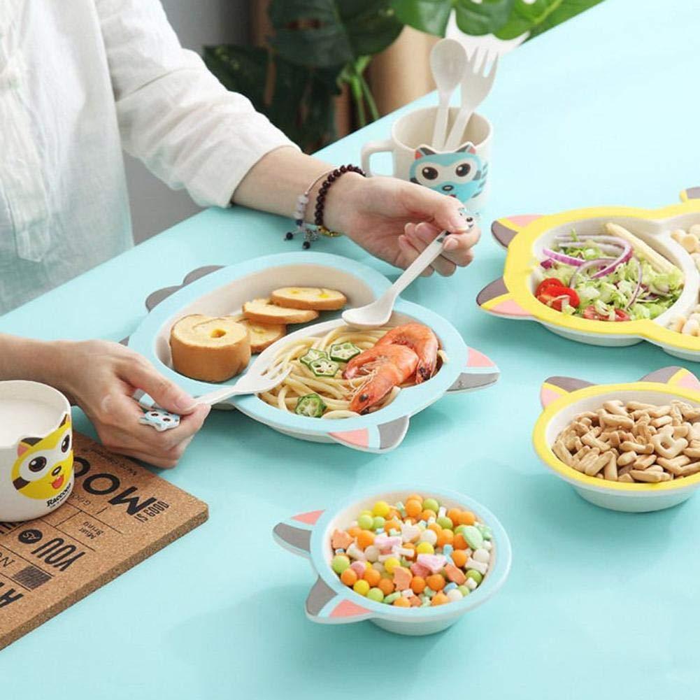 Kinder Kinder Cartoon Geschirr Set 5 St/ücke Bambusfaser Umweltfreundliche Geschirr Baby Teller Sch/üssel Tasse L/öffel