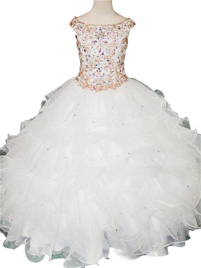 Yang Flower Girl's Wedding Party Bridesmaid Floor Length Pageant Dresses 14 US White