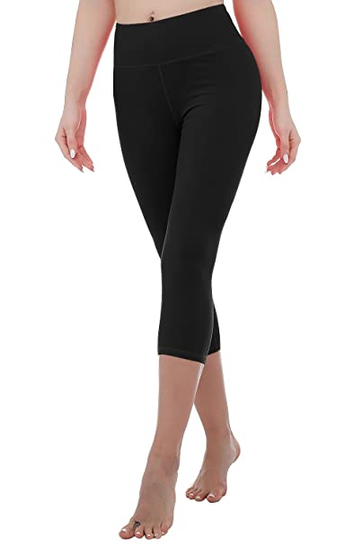 1042c5ddb965 RIKKI Women's High Waist Yoga Capris Pants Active Running Workout Leggings  (Black, ...