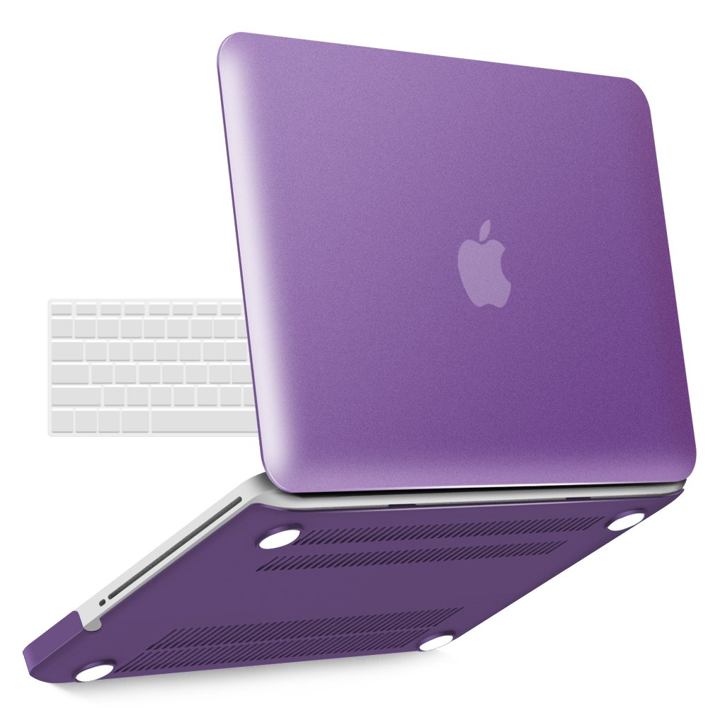 iBenzer Basic Soft-Touch Series Plastic Hard Case & Keyboard Cover for Apple MacBook Pro 13-inch 13'' with CD-ROM A1278 (Previous Generation) (Metallic Purple)