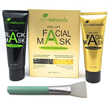 aimnaturals Charcoal Blackhead Remover Mask 120g + Gold Collagen Mask 120g  + Brush applicator, huge quantity value pack to remove blackheads/
