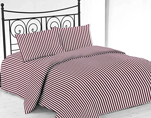 United Linens printed striped 4 piece sheet sets Brushed Microfiber 1800 Bedding - Wrinkle, Fade, Stain Resistant - Hypoallergenic - 4 Piece (queen, burgundy)