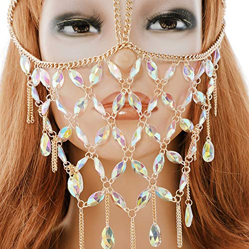 CCbodily Masquerade Mask Ball Metal Rhinestone Mask Face Chain for Women Couples (Gold-04)