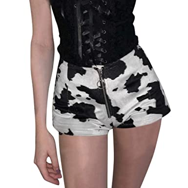 AmaSells Pantalones Cortos con Cremallera para Mujer, Pantalones ...