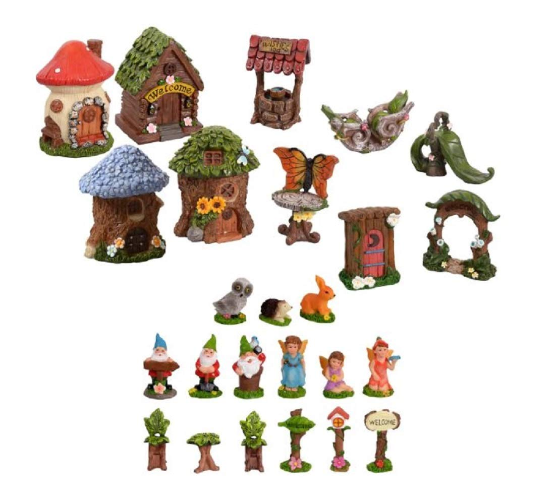 Miniature Fairy Garden with Houses, Woodland Creatures, Gnomes and Whimsical Figurines, 25-pc Set