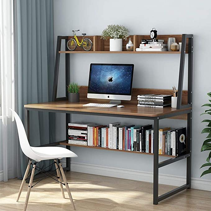 Tribesigns Computer Desk With Hutch 47 Inches Home Office Desk With Space Saving Design With Bookshelf For Small Spaces Dark Walnut Furniture Decor