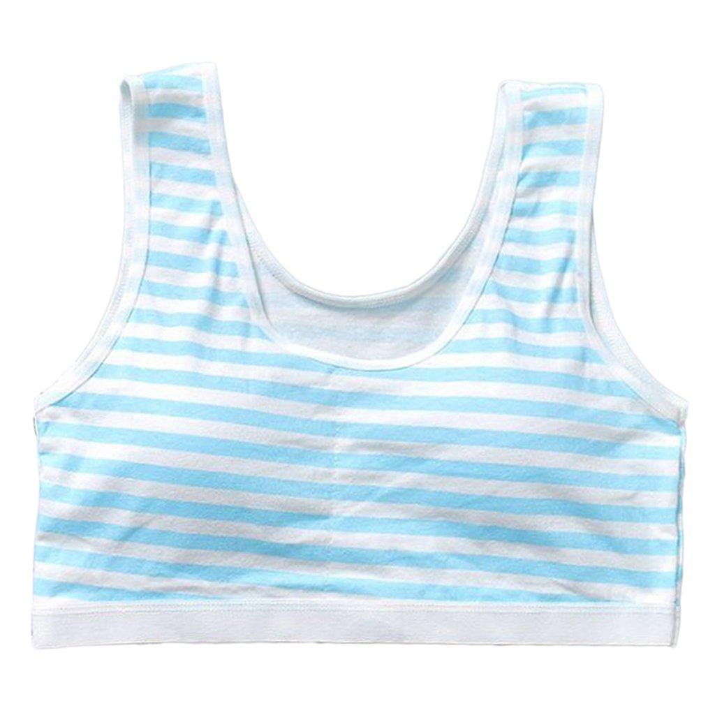 Cicitop New Stripe Girls Bras Wireless Training Bras Soft Padded Cotton Bra Young Girls Yoga Sports Puberty Bra