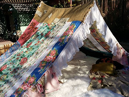 Boho Gypsy tent shabby chic glamping teepee hippiewild vtg scarves Gypsy hippie patchwork bed canopy Wedding photo prop Bohemian hippy