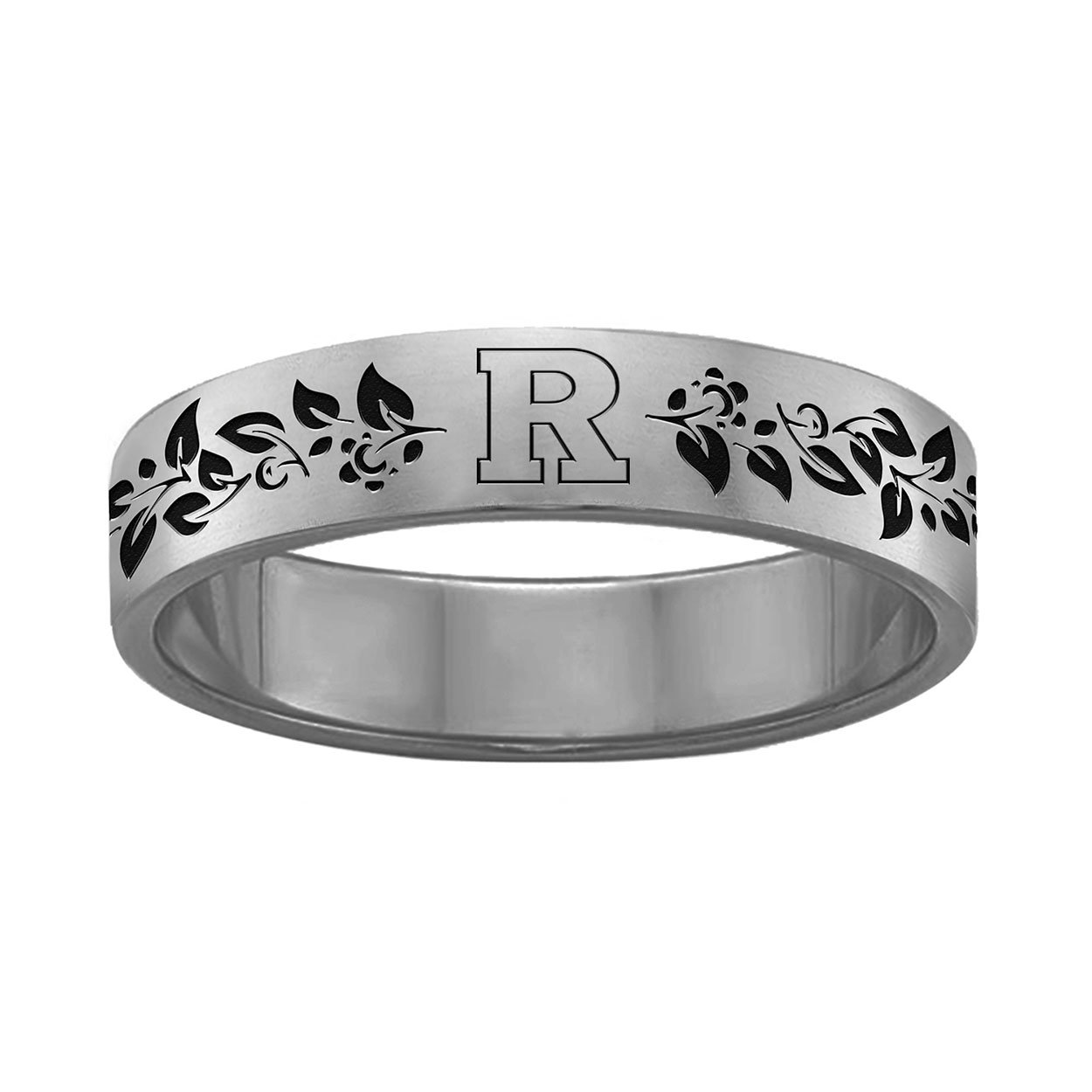Vine Design Organic Style Rutgers University Scarlet Knights Rings Stainless Steel 6MM Wide Ring Band