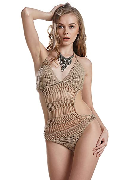 b2c13295a7 Infinilla Women's One-Piece Swimsuit Bathing Suits Swimwear Cover Ups  Summer Crochet V Neck Spaghetti
