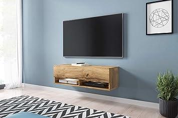 Wander – Fernsehschrank/Tv-Lowboard In Wotan Eiche Hängend Mit LED ...