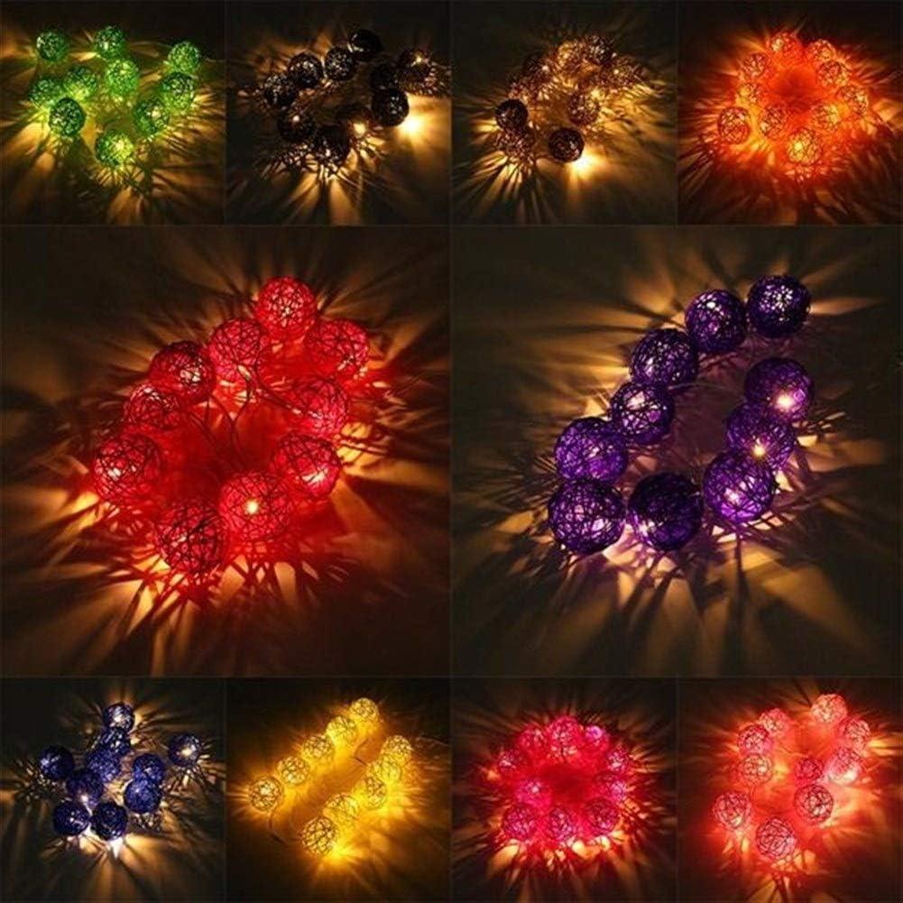 Jasmin FS 20 LED batterie Powered rotin boule Guirlande jardin F/ée lampe de soir/ée de mariage de No/ël Couleur : Blue