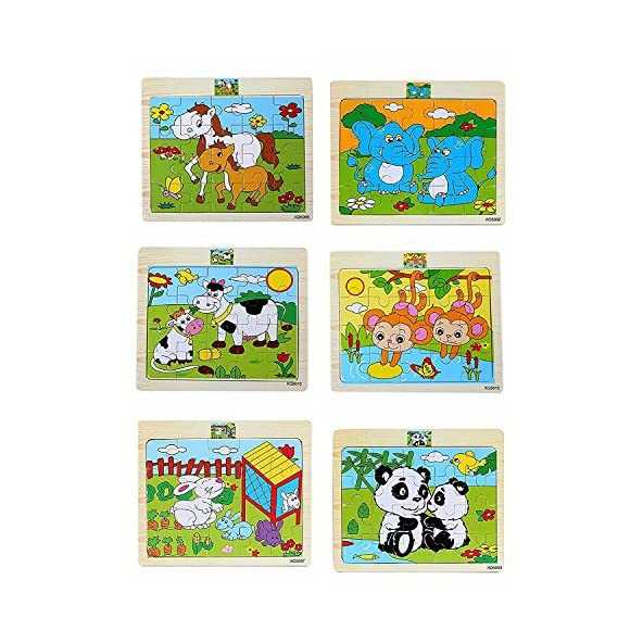 Akrobo Wooden Jigsaw Puzzle for Kids, Animal Theme ( 20 Piece per Puzzle, 6 Puzzle )