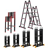 5M/4.2M/3.9M/2.7M Multipurpose Telescopic Folding Ladder Aluminium Alloy Extension Steps 4 Size (3.7M Folding)